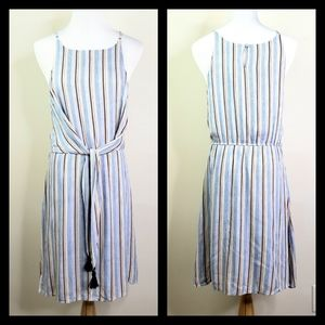 THML Blue Stripe Tie Front Tassel Halter Dress